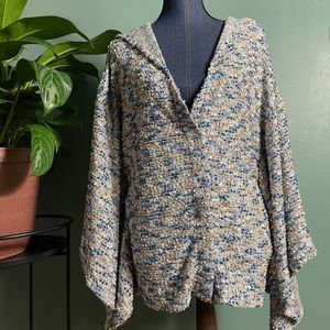 Astars Butterfly Sleeve Textured Hooded Cardigan
